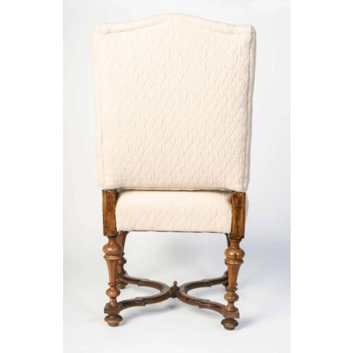 19th Century Italian Walnut Side Chairs in Brown Linen - Set of 4 For Sale - Image 4 of 7