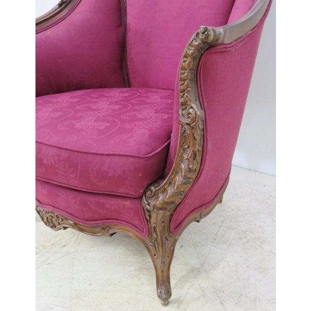 Early 20th Century French Walnut Carved Club Chair For Sale - Image 5 of 8