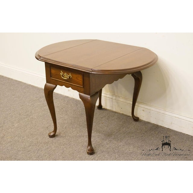 Brown 20th Century Queen Anne Cherry Wood Drop-Leaf End Table For Sale - Image 8 of 13
