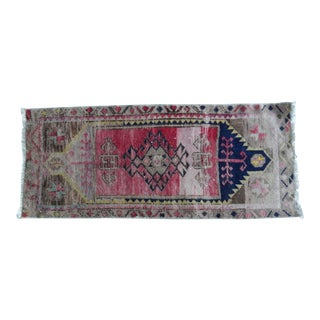 Hand Knotted Door Mat, Entryway Rug, Bath Mat, Kitchen Decor, Small Rug, Turkish Rug 1′8″ × 3′10″ For Sale