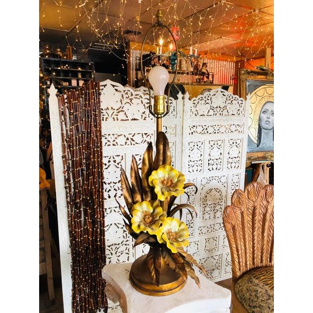 Art Nouveau Vintage Italian Gold Gilt Tole Table Lamp For Sale - Image 3 of 7