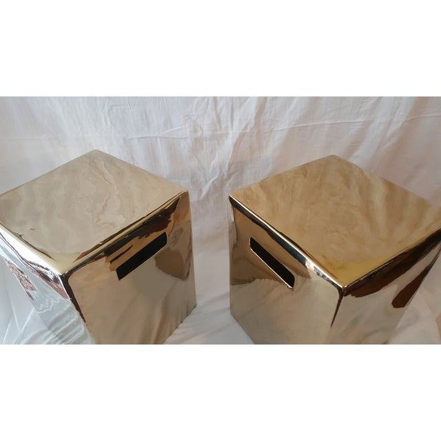 Set of Gold Garden Stools - Pair - Image 3 of 5