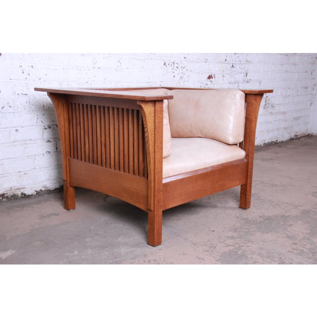 Stickley Stickley Mission Prairie Armchair With Tan Leather Upholstery For Sale - Image 4 of 13