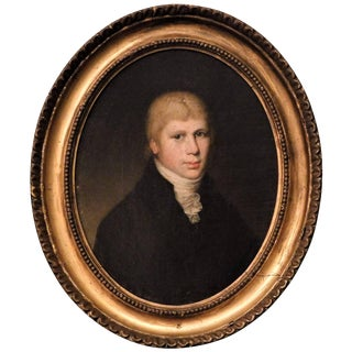Oval Portrait of a Young Man, Oil on Canvas, circa 1800, England For Sale