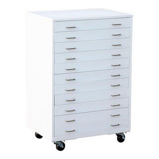 1960s Vertical Flat File Cabinet of Drawers Refinished in Gloss White For Sale
