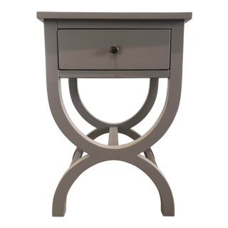 Light Gray Side Table With Drawer For Sale