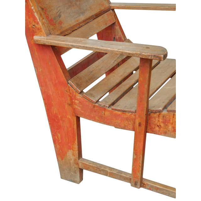 Red Late 19th C. Primitive Painted Chaise For Sale - Image 8 of 11