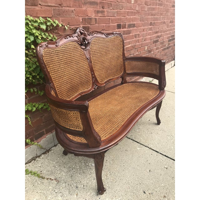 Italian Vintage Italian Curved Caned Loveseat For Sale - Image 3 of 10
