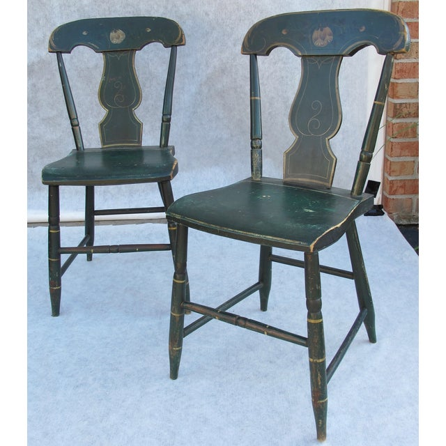 Antique Painted Pennsylvania Plank Chairs - S/6 - Image 7 of 11