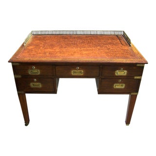 Early 19th C Irish Campaign Desk with Leather Top and Brass Gallery