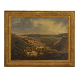 19th Century English Antique Hunt Scene Landscape Paintings With Setter Dogs - a Pair Preview