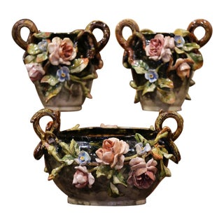 Pair of 19th Century Hand Painted Barbotine Ceramic Vases & Matching Cache-Pot For Sale