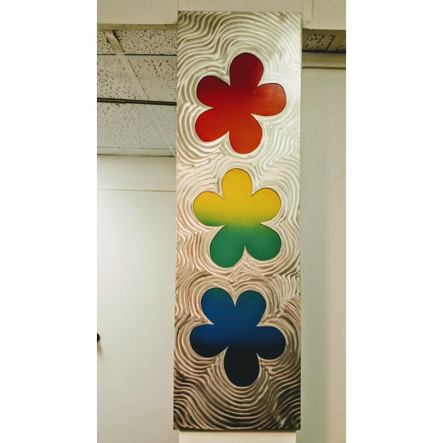 Stainless Steel Brushed Floral Wall Hanging - Image 2 of 6
