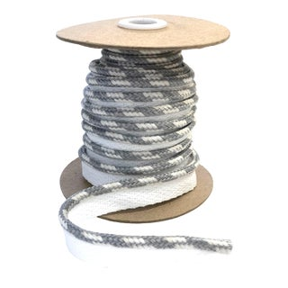 "Braided 1/4"" Indoor/Outdoor Cord White and Gray For Sale"