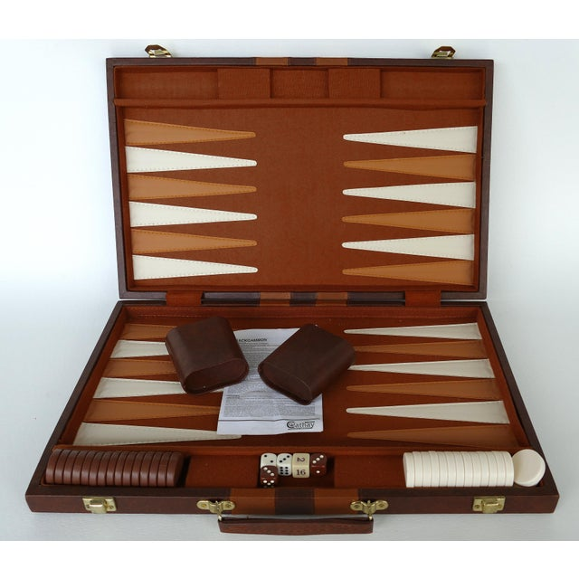 Mid-Century Modern Vintage Large Leatherette Backgammon Set W/ Travel Case For Sale - Image 3 of 8