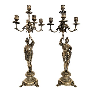 Pair Antique 19th Century Silvered Bronze Cavalier Candelabra. For Sale