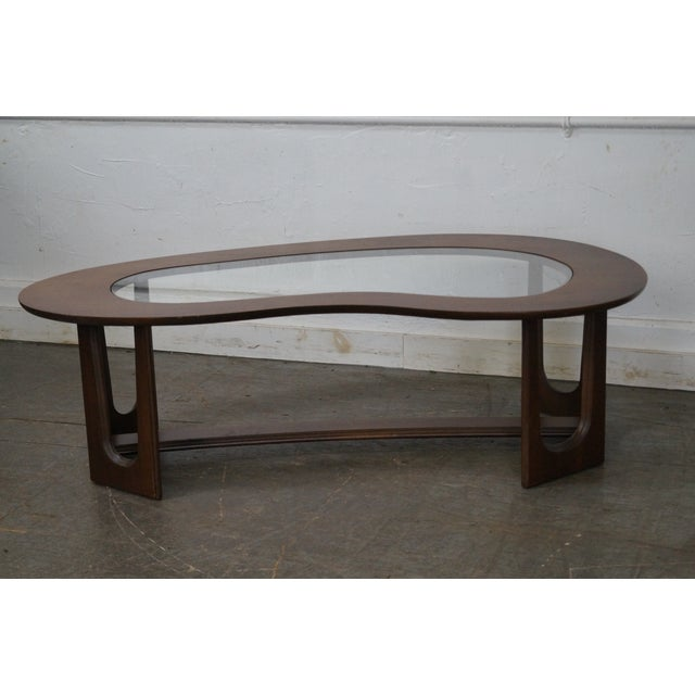 Mid-Century Boomerang Walnut & Glass Top Coffee Table - Image 2 of 10
