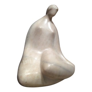 Seated Nude White Marble Indoors / Outdoor Sculpture For Sale