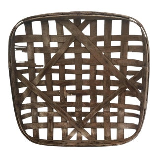 Early 20th Century Antique Huntington Tobacco Co. Split Wood Tobacco Basket For Sale