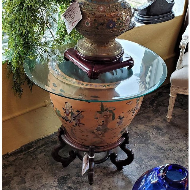 Asian Large Chinese Fish Bowl Side Table With Stand For Sale - Image 3 of 13