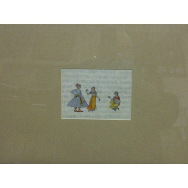 """This is a Framed and Matted Original Hand-Colored Print that is titled """"Indian Man & 2 Women"""" - The Artist is Unknown."""