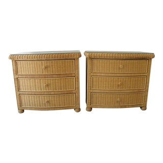 Vintage Mid Century Wicker Bamboo Rattan Dressers-A Pair For Sale