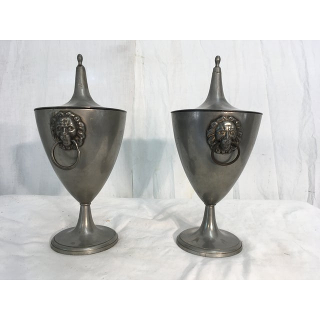 19th C. English Pewter Urns - A Pair - Image 3 of 9