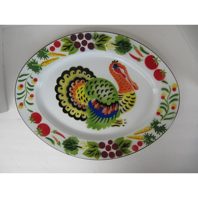 Vintage 1950's enamelware turkey platter. Hand painted brightly colored vegetables and a giant turkey in the middle! Made...