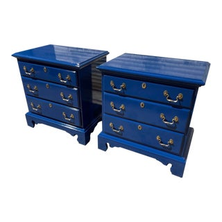Newly Lacquered Henry Link Chippendale Nightstands a Pair For Sale