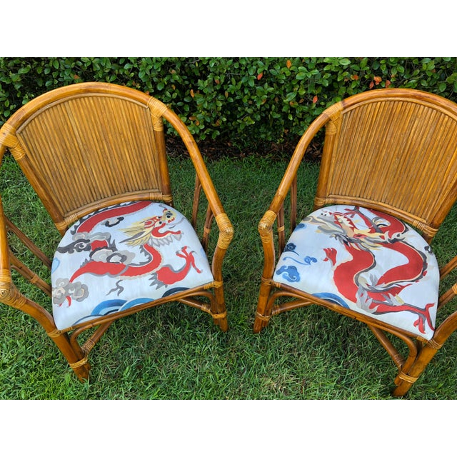 Pair of Bamboo Chairs with the seats covered in the Carleton Varney Puff fabric. The chairs are in really good condition,...