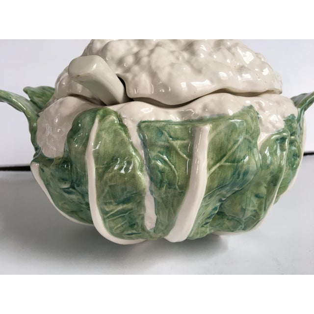Ceramic Late 20th Century Majolica Cauliflower Shaped Soup Tureen & Ladle, Made in Portugal - a Set For Sale - Image 7 of 13