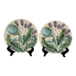 Vintage 1989s Grange French Majolica Plates- a Pair For Sale