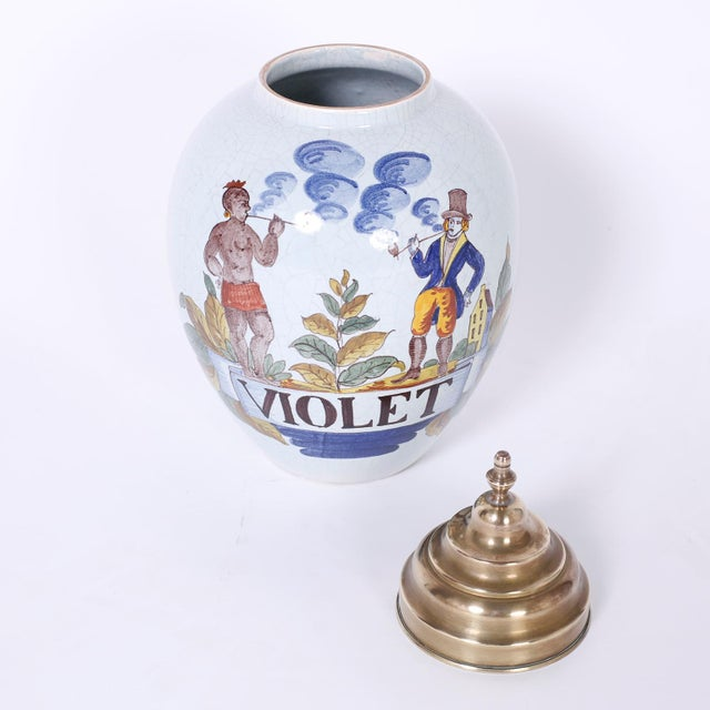 Traditional Porcelain Apothecary Tobacco Jar For Sale - Image 3 of 7