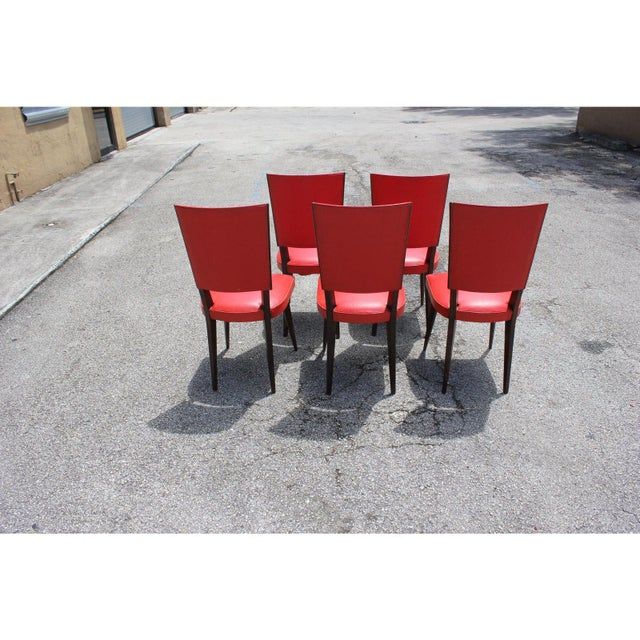 1940s 1940s Vintage French Art Deco Solid Mahogany Dining Chairs- Set of 5 For Sale - Image 5 of 13