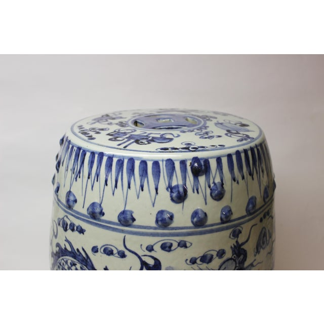 Blue Chinese Blue and White Ceramic Garden Stool For Sale - Image 8 of 10