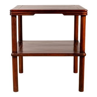 Chinese Vintage Midcentury Square-Shaped Side Table with Lower Shelf For Sale