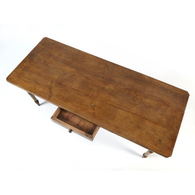 French Oak Table With Pass-Through Drawer For Sale - Image 9 of 11