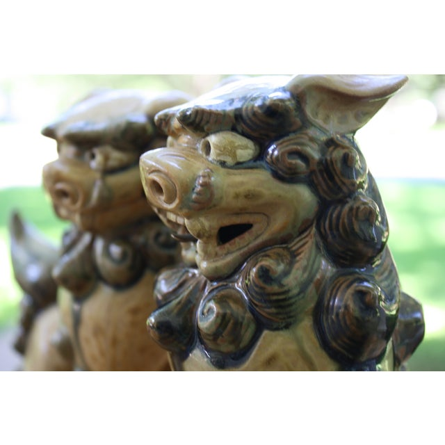 Vintage Terracotta Glazed Foo Dogs - Pair - Image 5 of 7