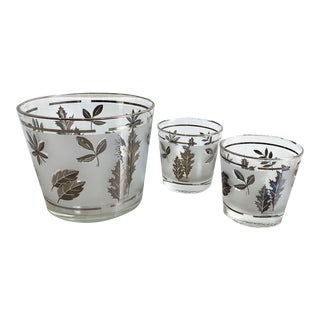 Vintage Glasses and Ice Bucket With Leaf Design - 3 Piece Set For Sale