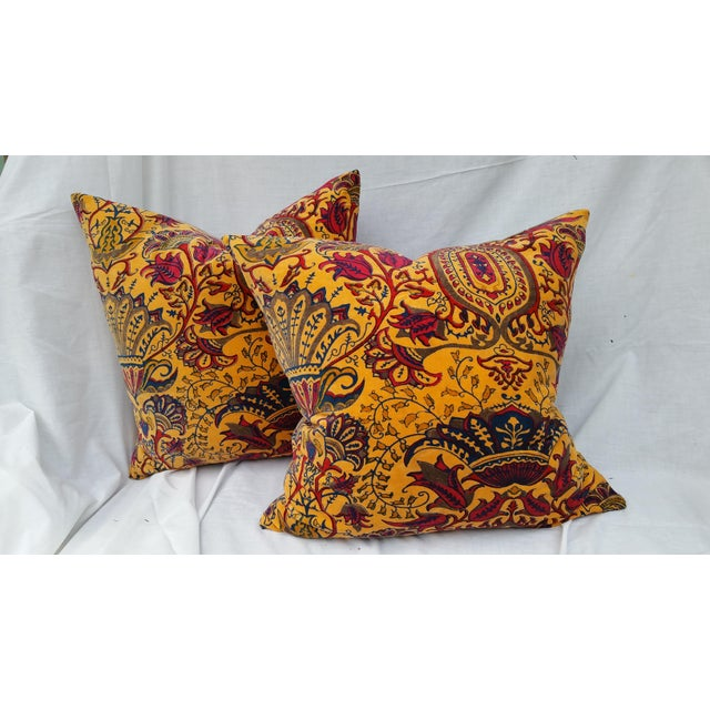 A pair of Vibrant cotton velvet pillows with hand block print design. Plump feather and down fill. New nubby linen back....