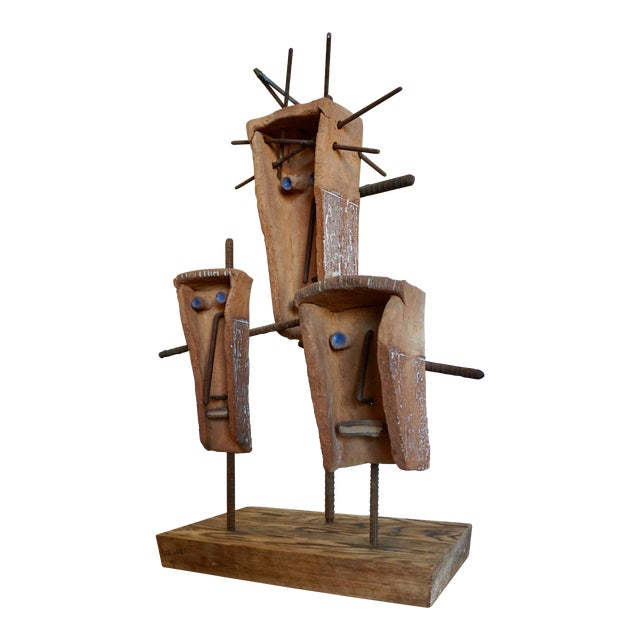 Hal Riegger Figurative Abstract Ceramic and Steel Sculpture For Sale