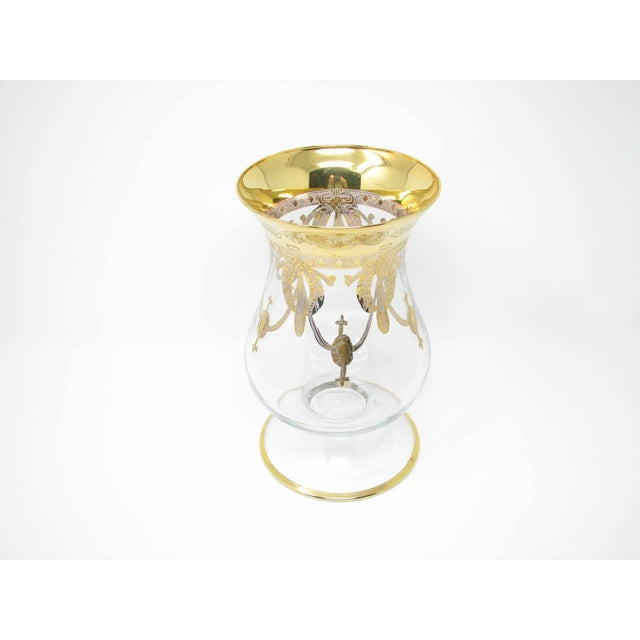 Vintage Same Cristallerie Italy Glass and 24k Gold Encrusted Large Footed Vase For Sale - Image 4 of 13