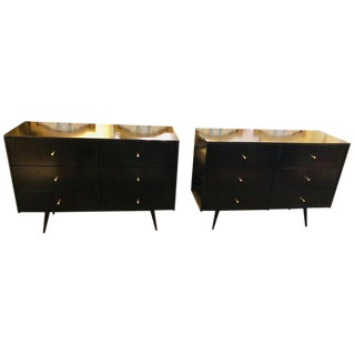 Pair of Mid-Century Modern Paul McCobb Planner Group Ebony Chests or Commodes For Sale