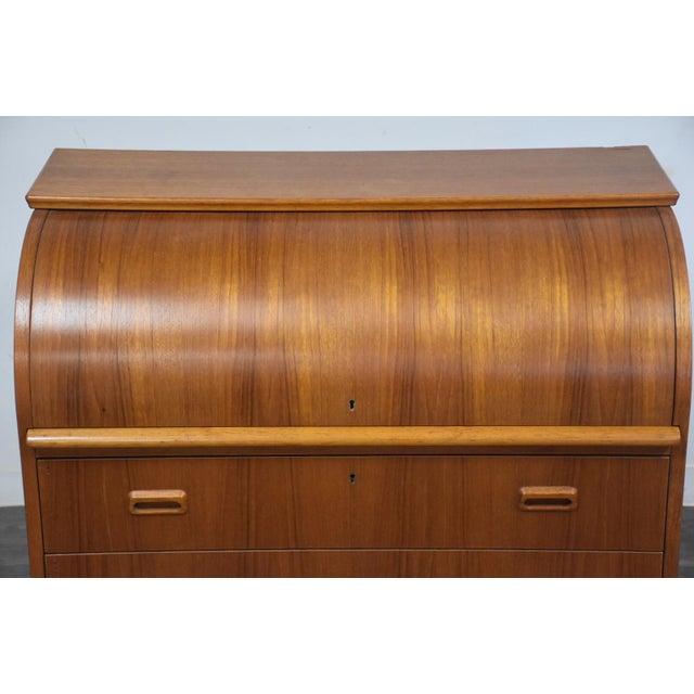 Orange Modern Teak Drum Roll Secretary Desk For Sale - Image 8 of 13