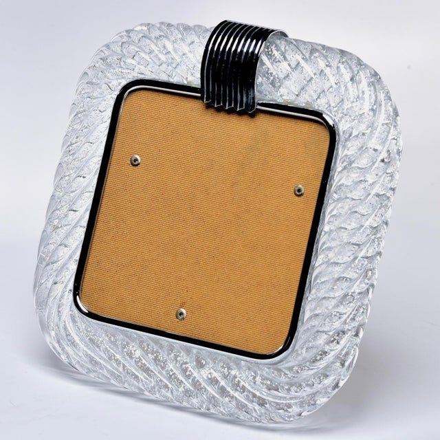 1950s Mid Century Murano Glass Frame With Silver Inclusions For Sale - Image 5 of 5