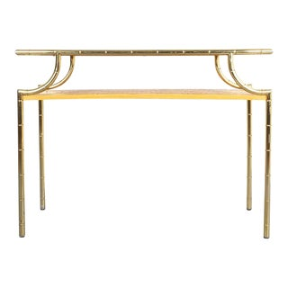 Bamboo Marquetry Brass Console Table, Italy 1950 For Sale