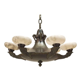 French Victorian Green Tole and Alabaster Chandelier For Sale