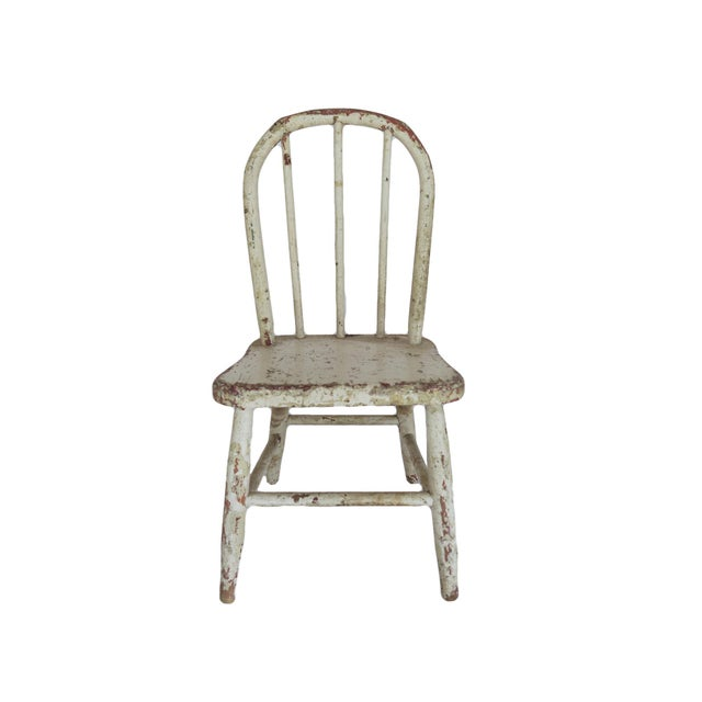 1940s Vintage White Wooden Children's Chair Seat For Sale - Image 5 of 5