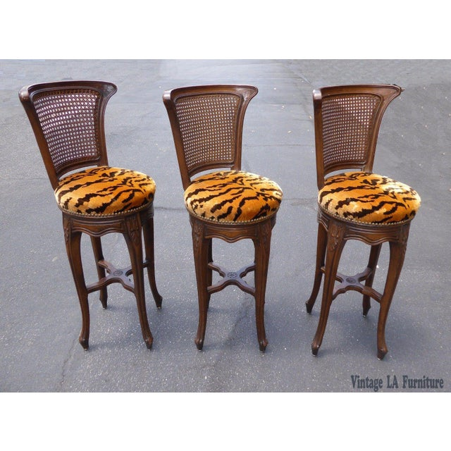 Vintage French Country Wood & Cane Barstools - Set of 3 - Image 4 of 11