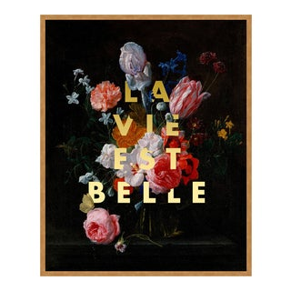 La Vie Est Belle by Lara Fowler in Gold Framed Paper, Small Art Print For Sale